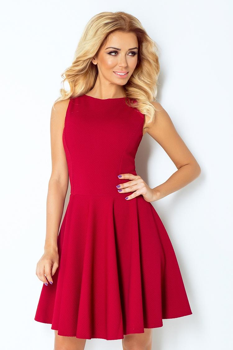 Šaty s kolovou sukní, vínová, S