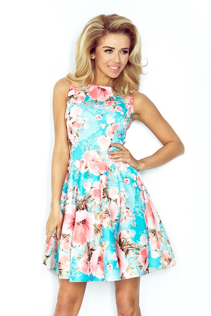 Dámské šaty s kolovoiu sukní - potisk broskvové květy