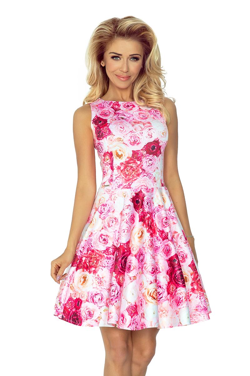 Šaty s kolovou sukní - potisk růže