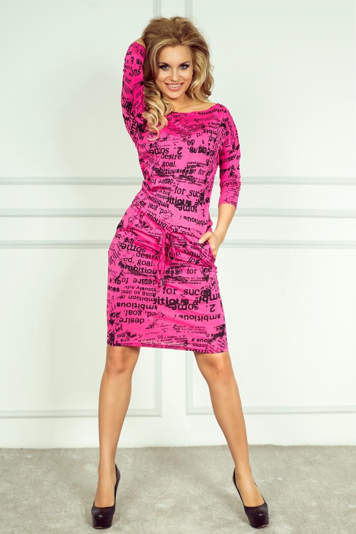 Sportovní šaty s potiskem, růžová, S