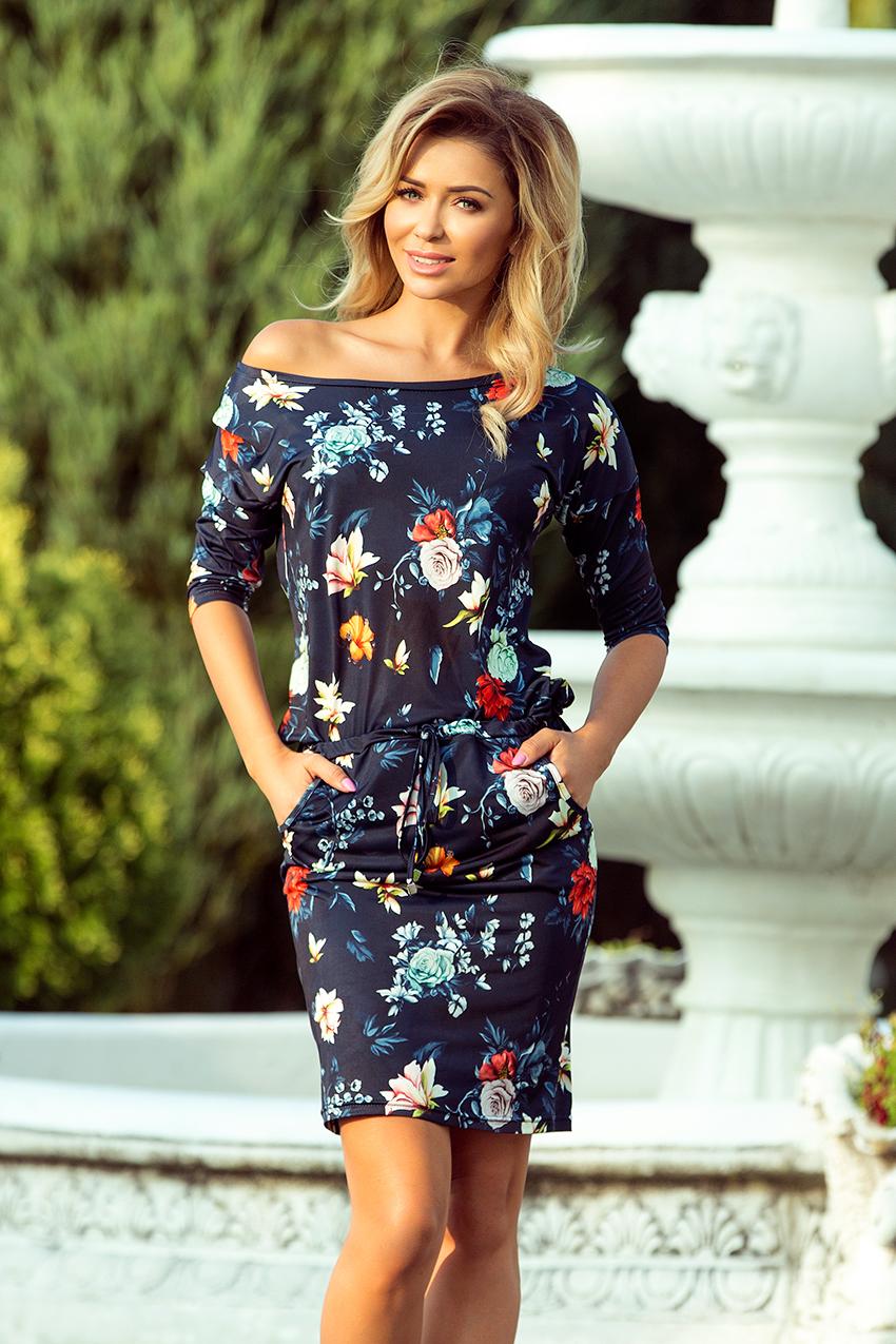 Sportovní šaty s potiskem květin, navy, S