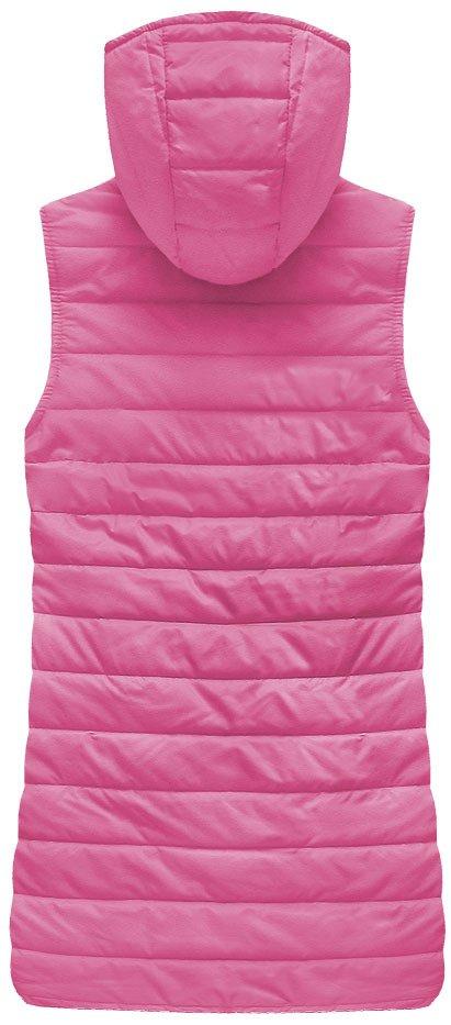 Delší prošívaná vesta s kapucí, růžová, M