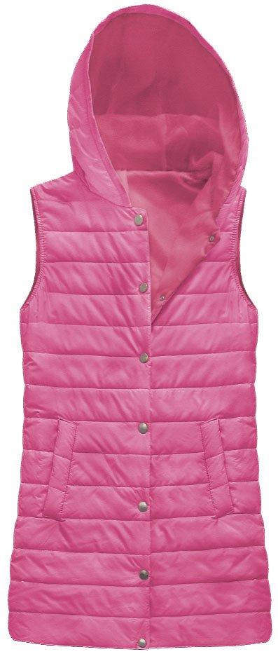 Delší prošívaná vesta s kapucí