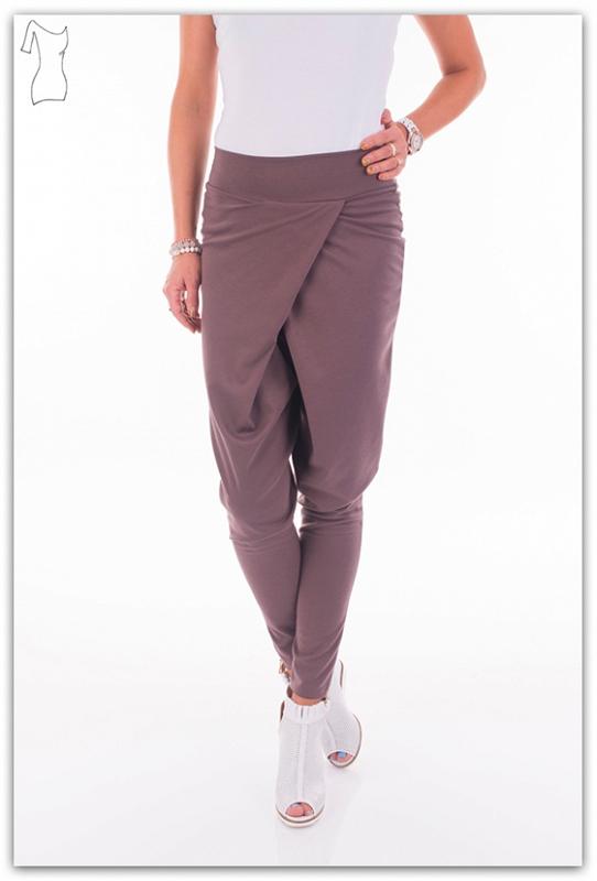 Harem kalhoty s vysokým pasem, cappucino, jednotná