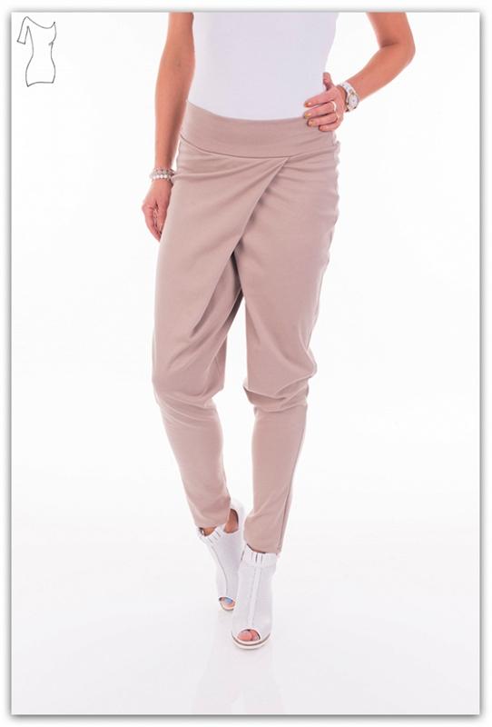 Harem kalhoty s vysokým pasem, béžová, jednotná