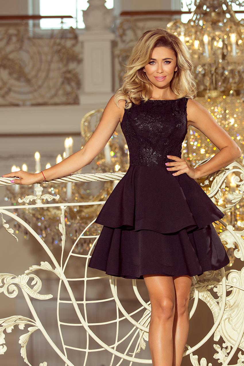 Černé šaty s volánovou sukní