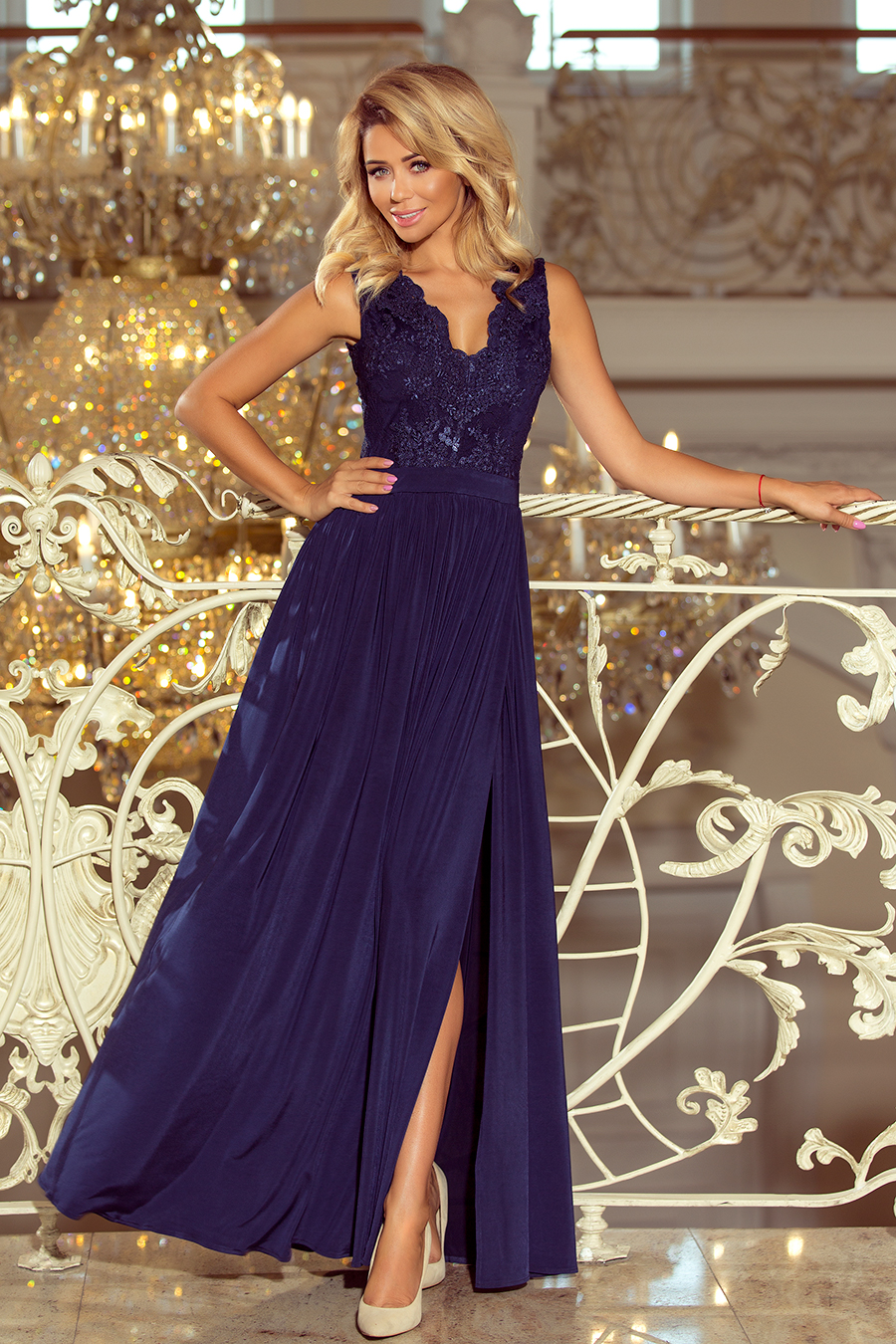 Elegantní dámské šaty, navy, S
