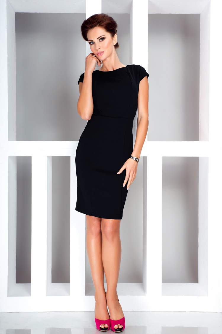 Elegantní šaty s krátkým rukávem, černá, M