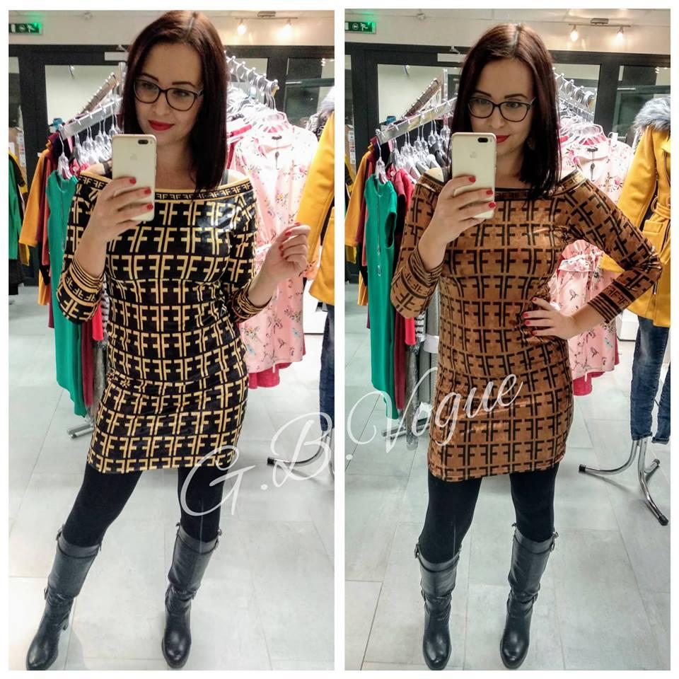 Semišové šaty ve stylu Fendi