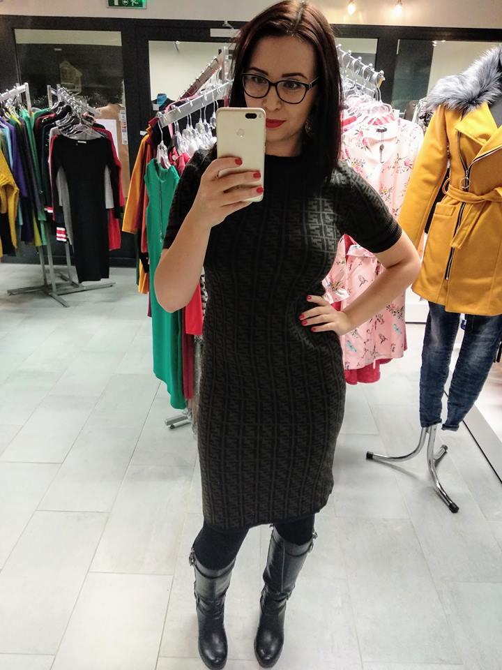 Šaty úpletové Fendi de lux, hnědá, jednotná