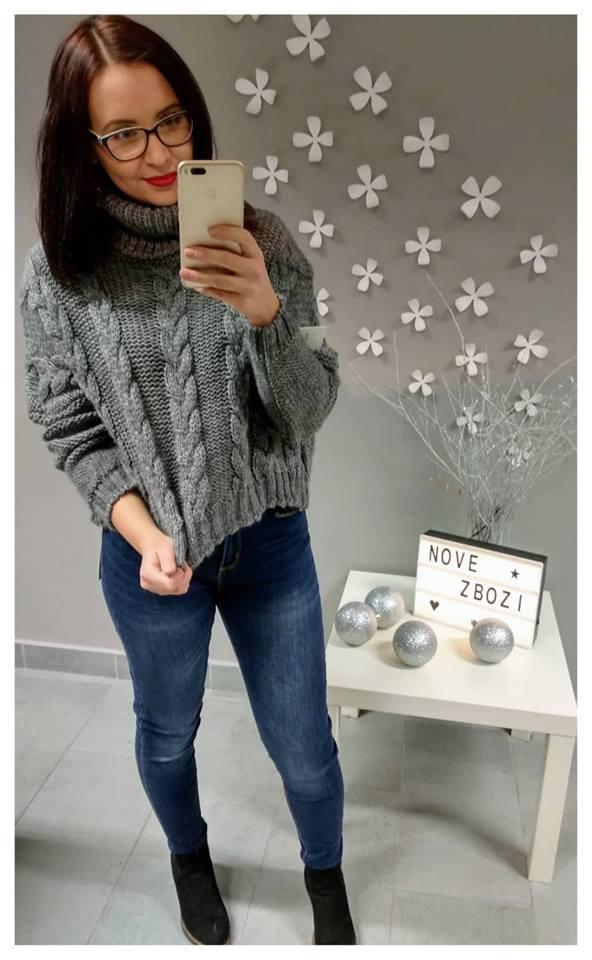 Pletený svetr copánek krátky, graffit, jednotná