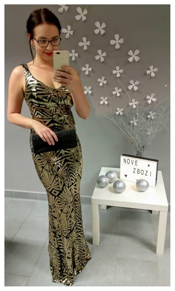 Plesové šaty zlaté, zlatá, jednotná