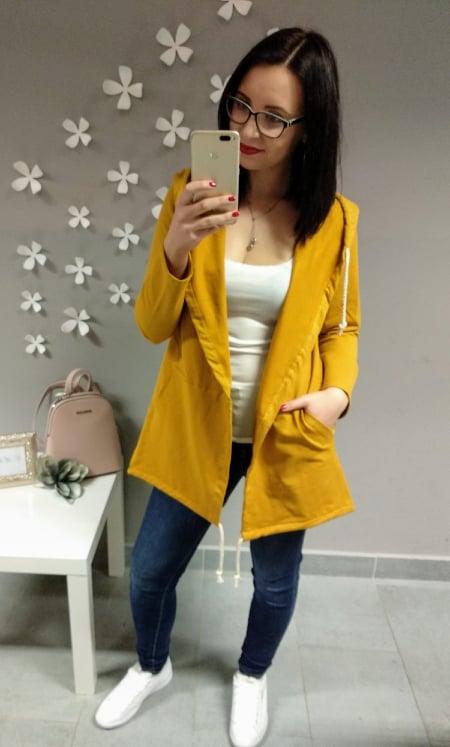 Kabátek jednobarevný s kapucí