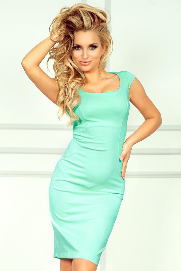 Elegantní mintové pouzdrové šaty
