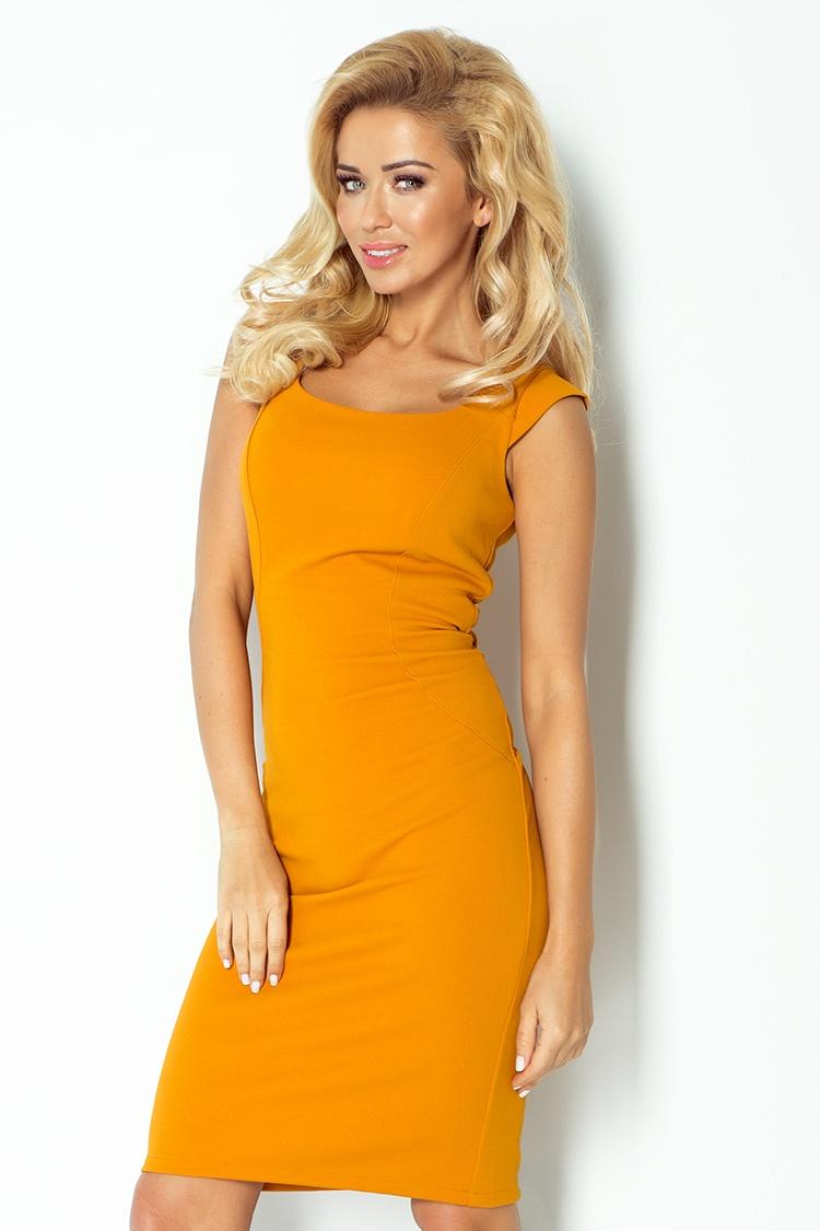 Elegantní šaty, hořčicová, XL