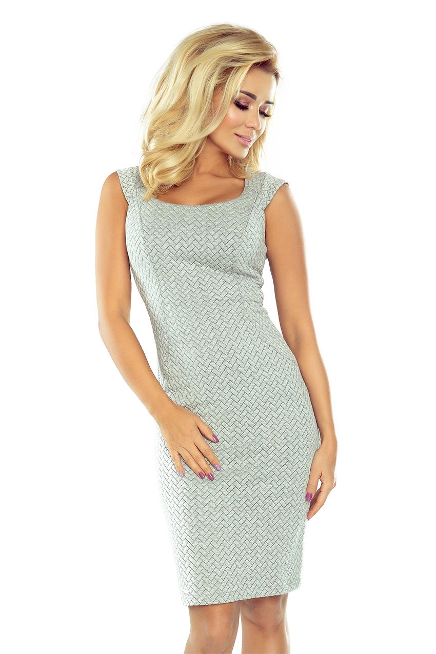 Pouzdrové šaty šedé - vzor