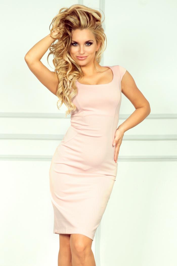 Elegantní šaty, broskvová, L