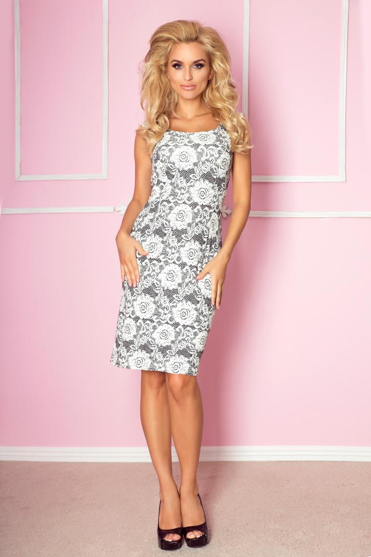 Elegantní šaty, imitace krajky, jednotná, M