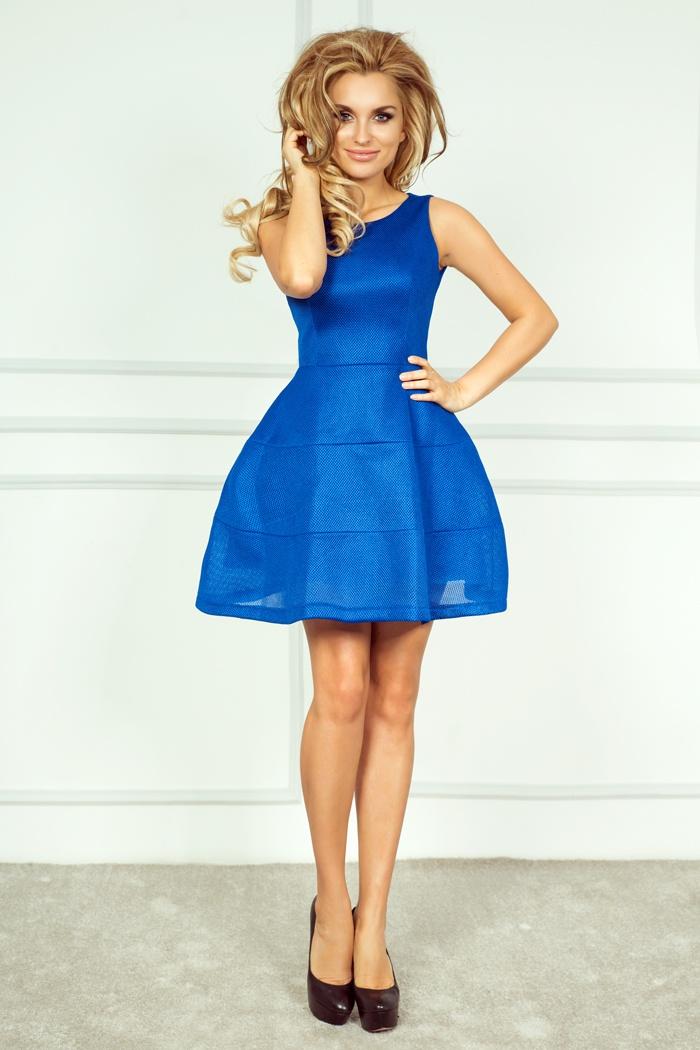 Módní šaty se širokou sukní, modrá, S