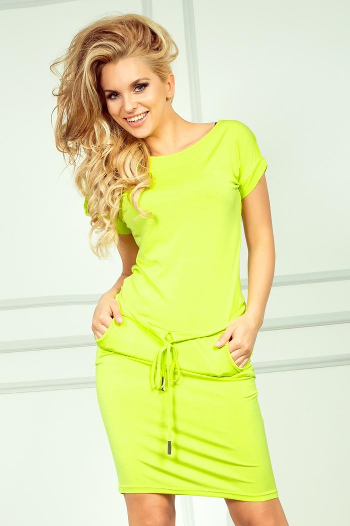 Sportovní šaty s krátkým rukávem NEON, limeta, M