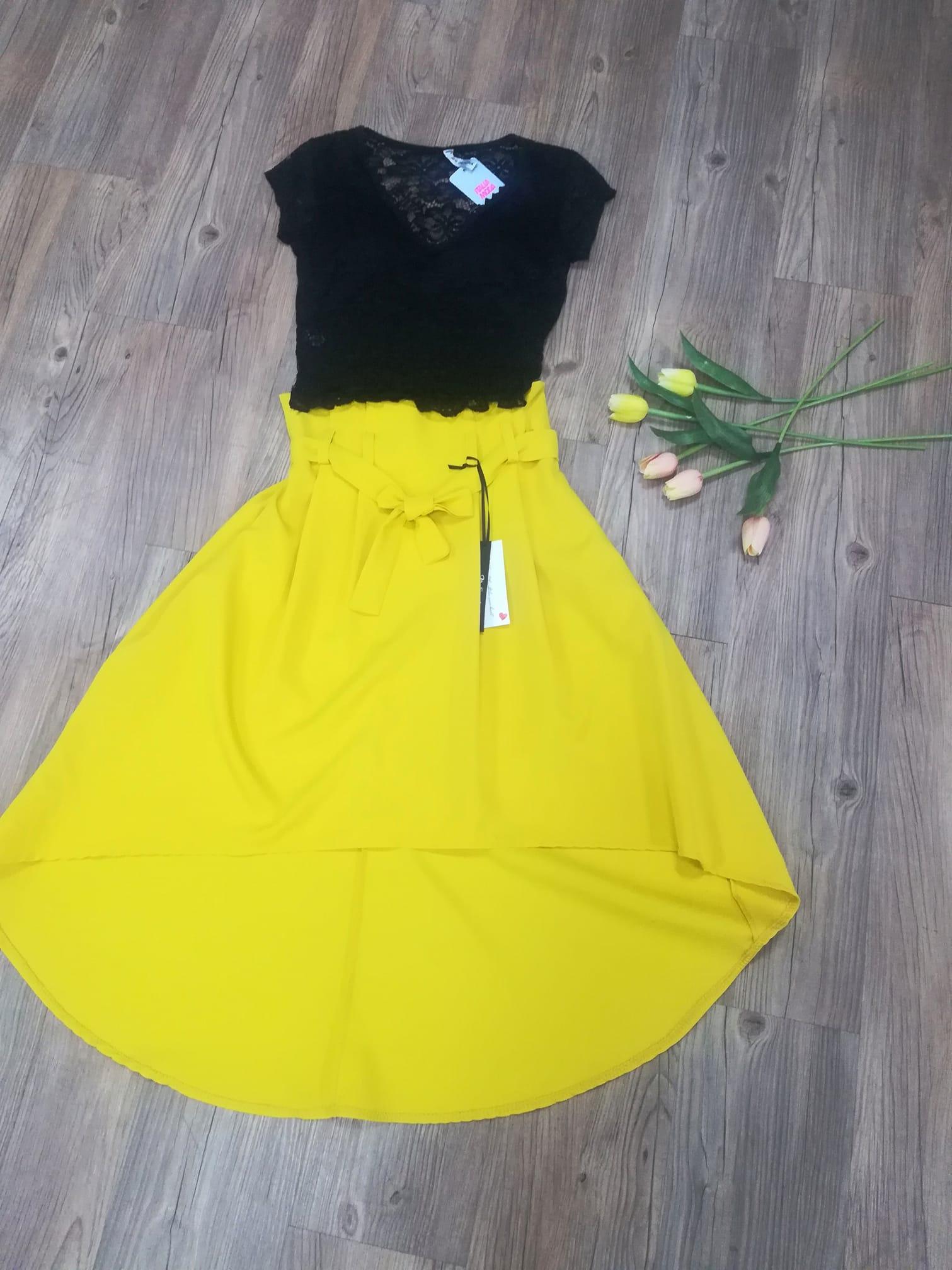 Asymetrická sukně - 2 barvy, žlutá, S