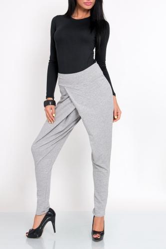 Módní balvněné kalhoty, šedá, jednotná