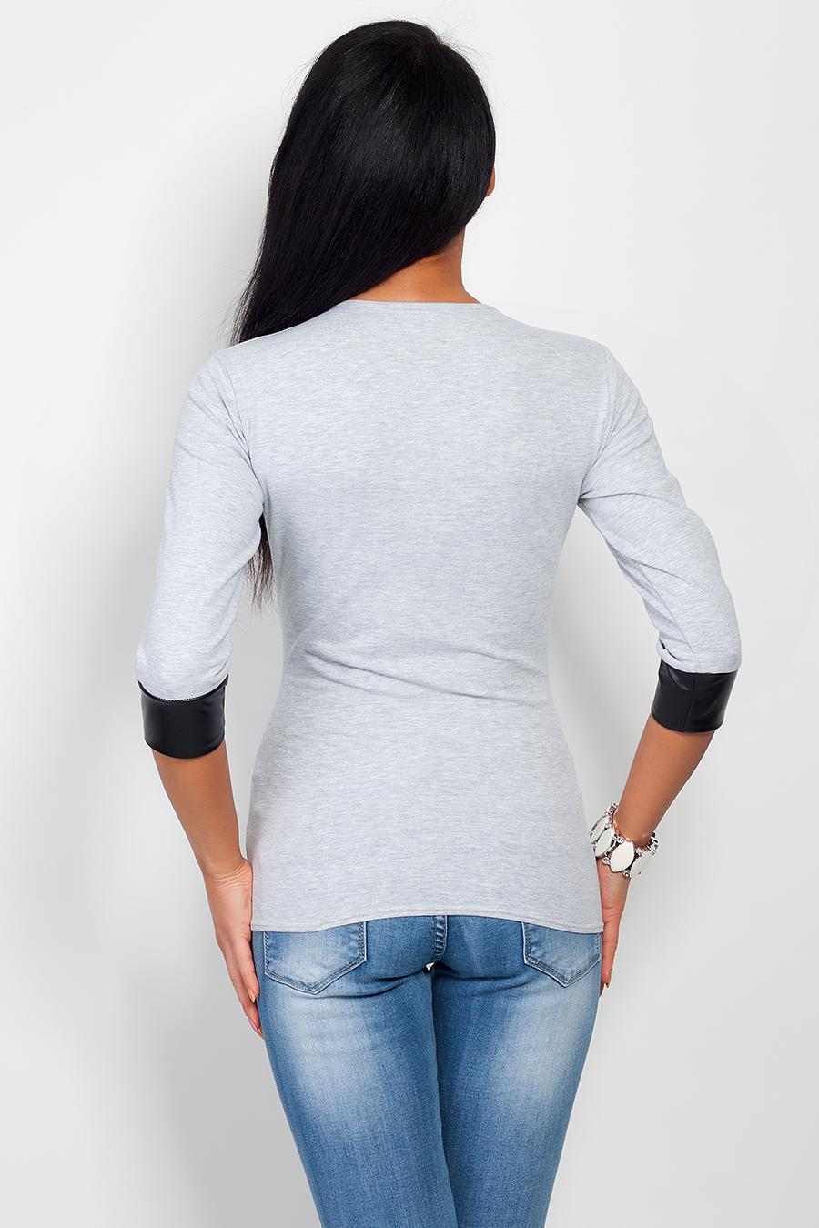 Bavlněné triko s doplňky z ekokůže, šedá, jednotná