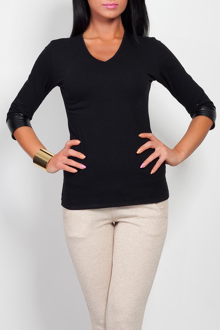 Bavlněné triko s doplňky z ekokůže, černá, jednotná