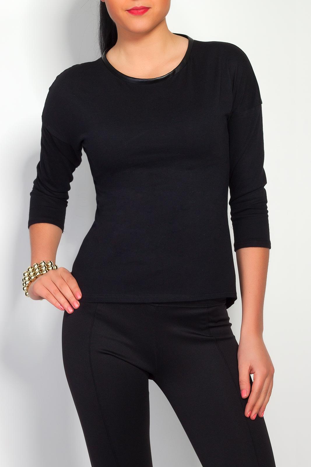 Bavlněné triko se zipem, černá, jednotná