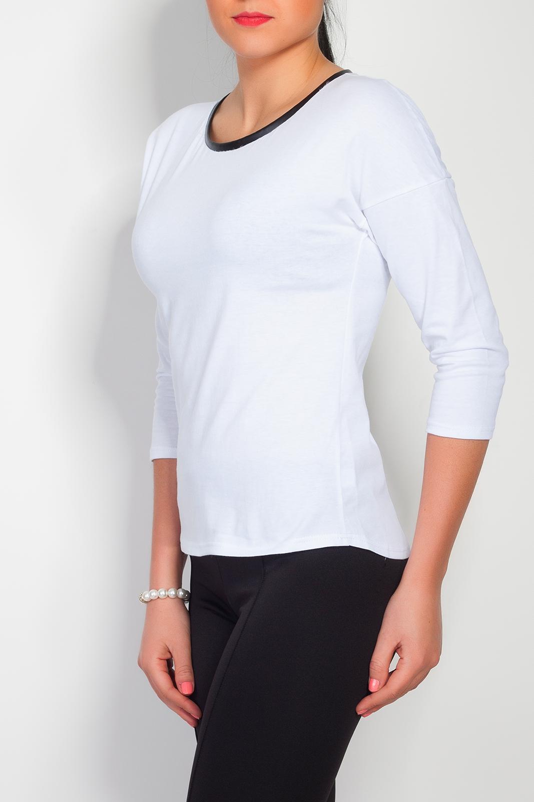 Bavlněné triko se zipem, bílá, jednotná