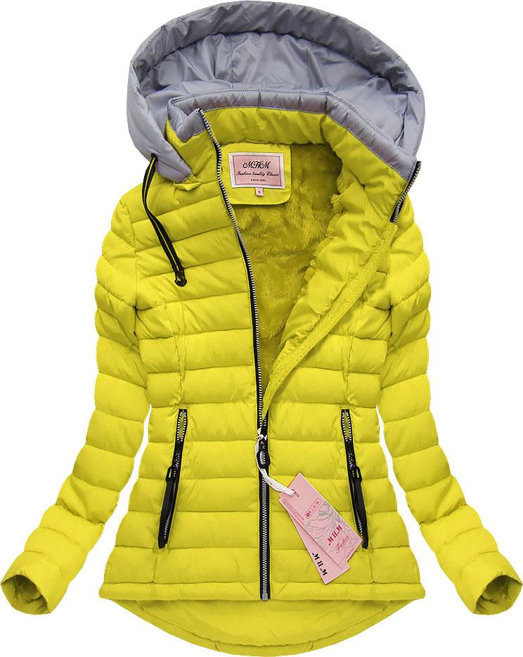 Žlutá zimní bunda s kožískem