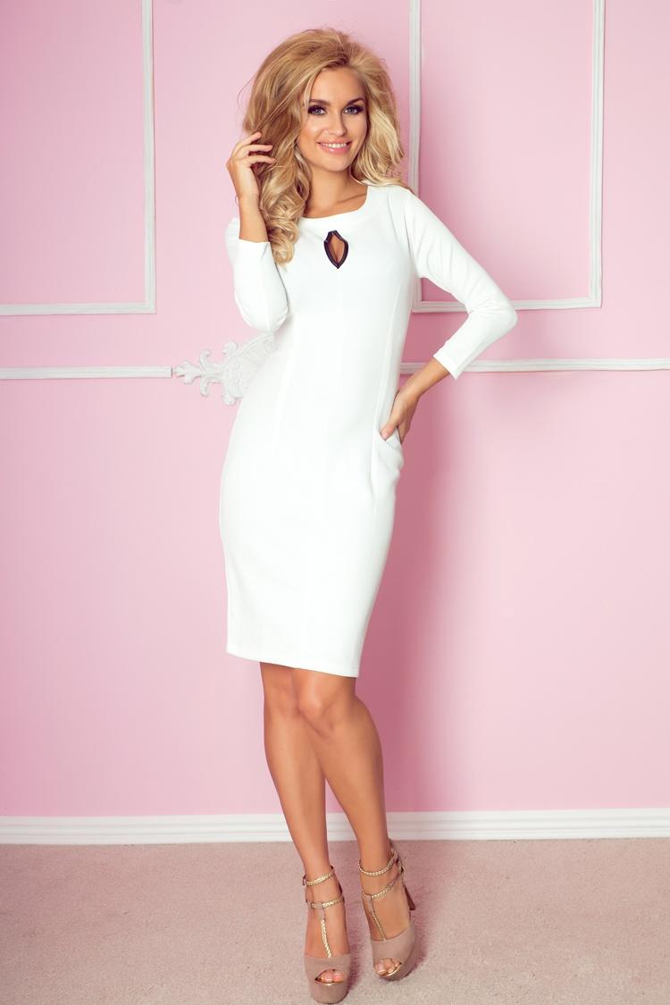 Elegantní šaty s rafinovaným výstřihem, bílá, S