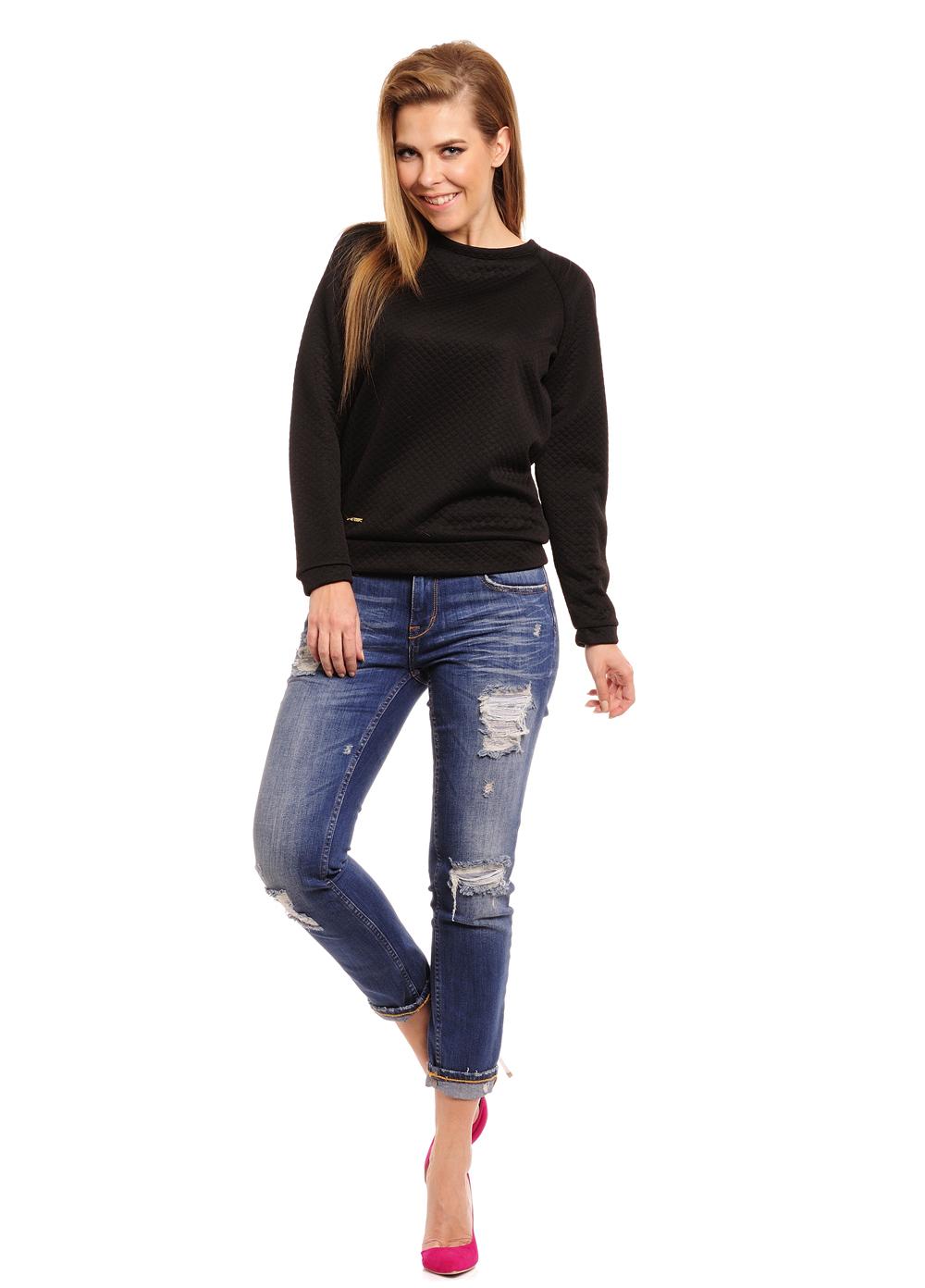 Pletený svetr se saténovou mašlí, černá, jednotná