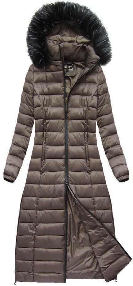 Dlouhá dámská zimní bunda s kapucí