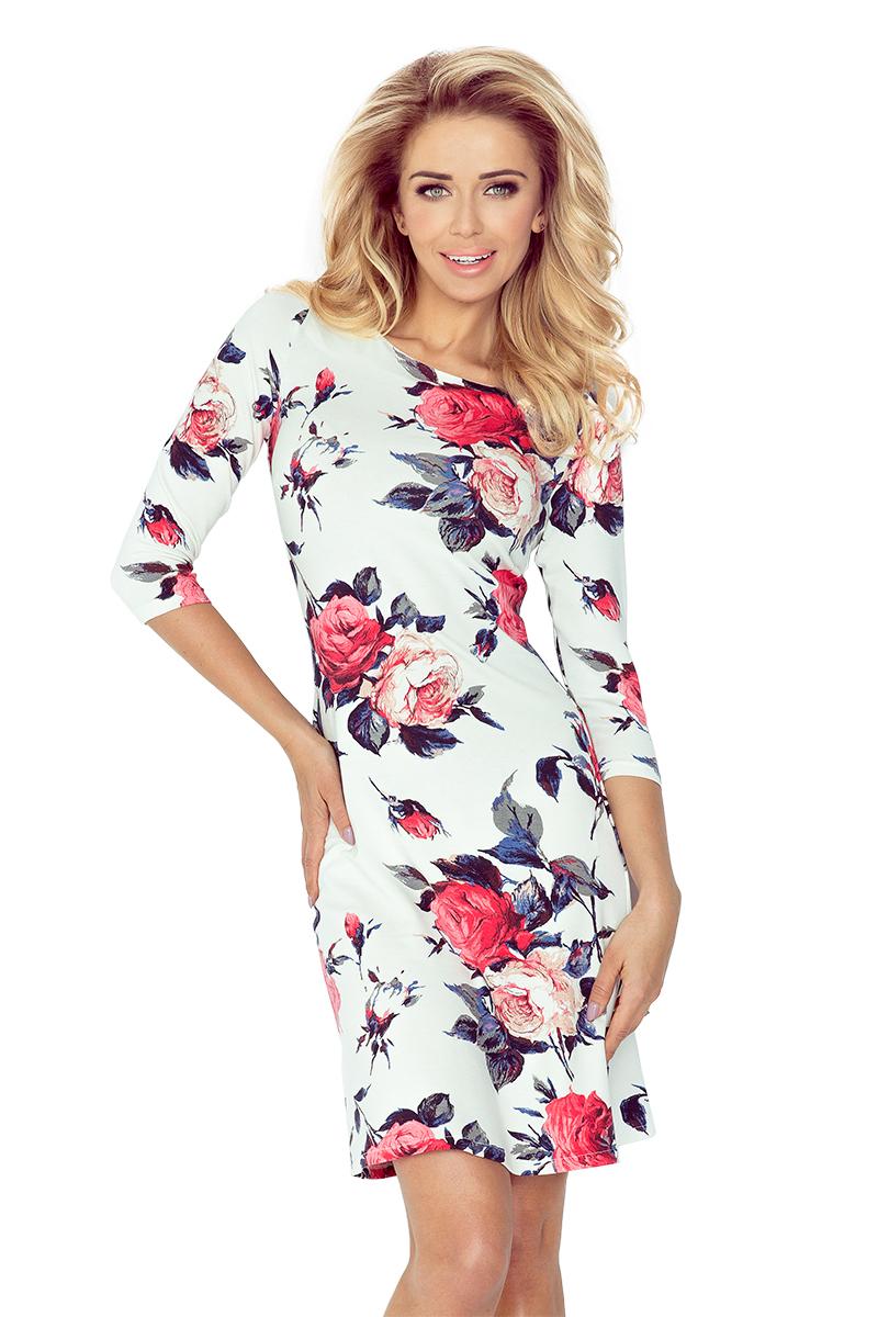 Dásmké šaty áčkového střihu s květy