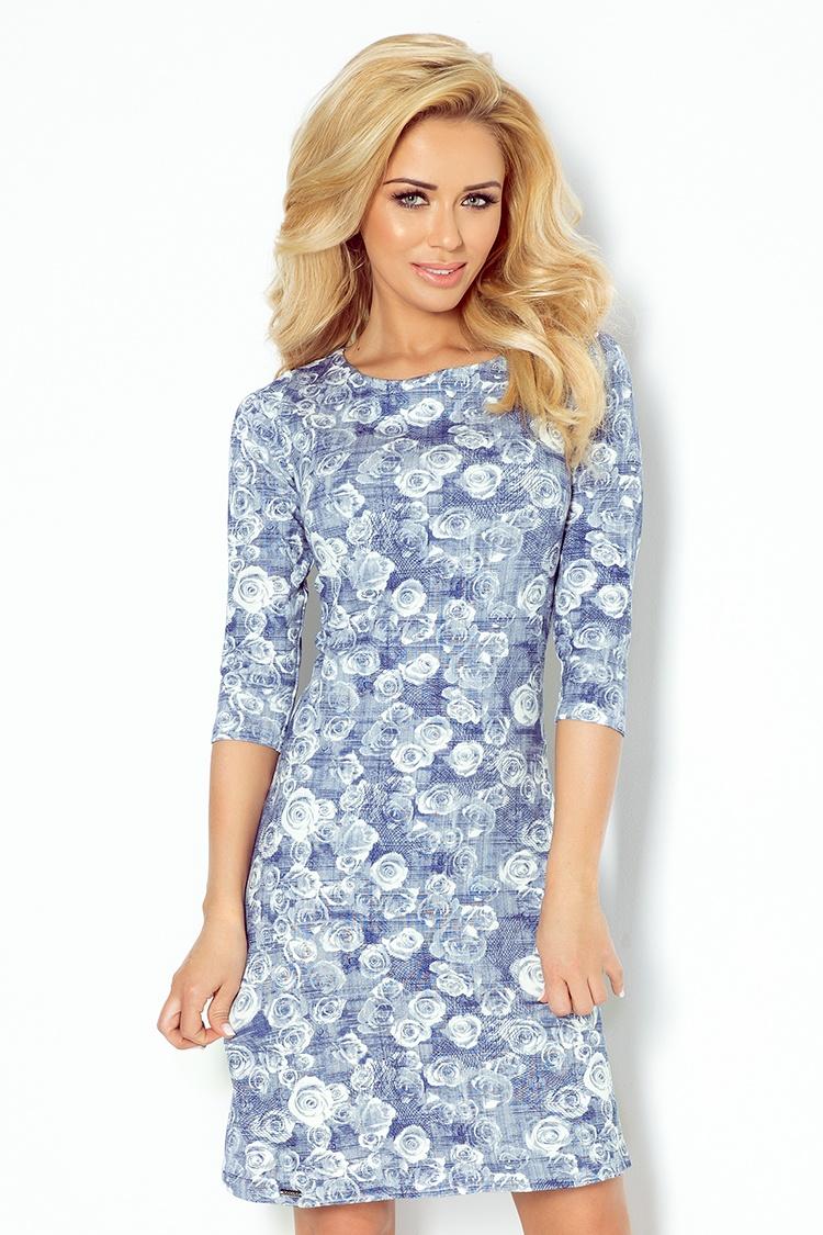 Modré šaty s potiskem růží