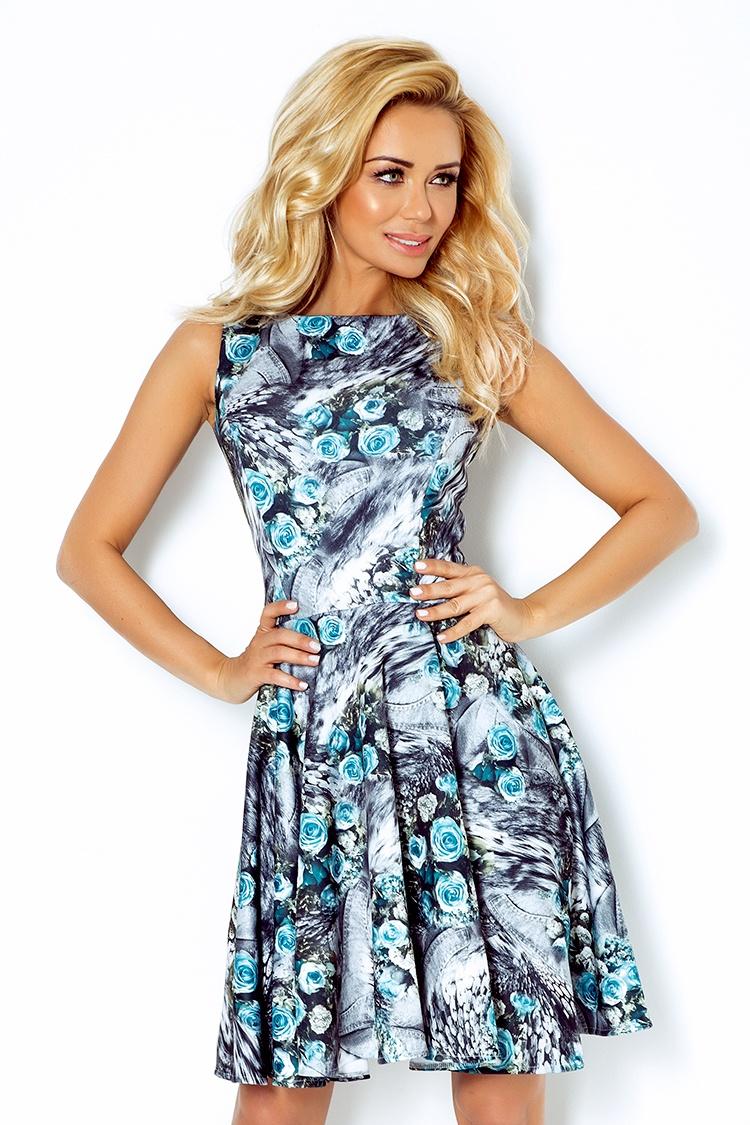 Dámské šaty s potiskem  - modré růže