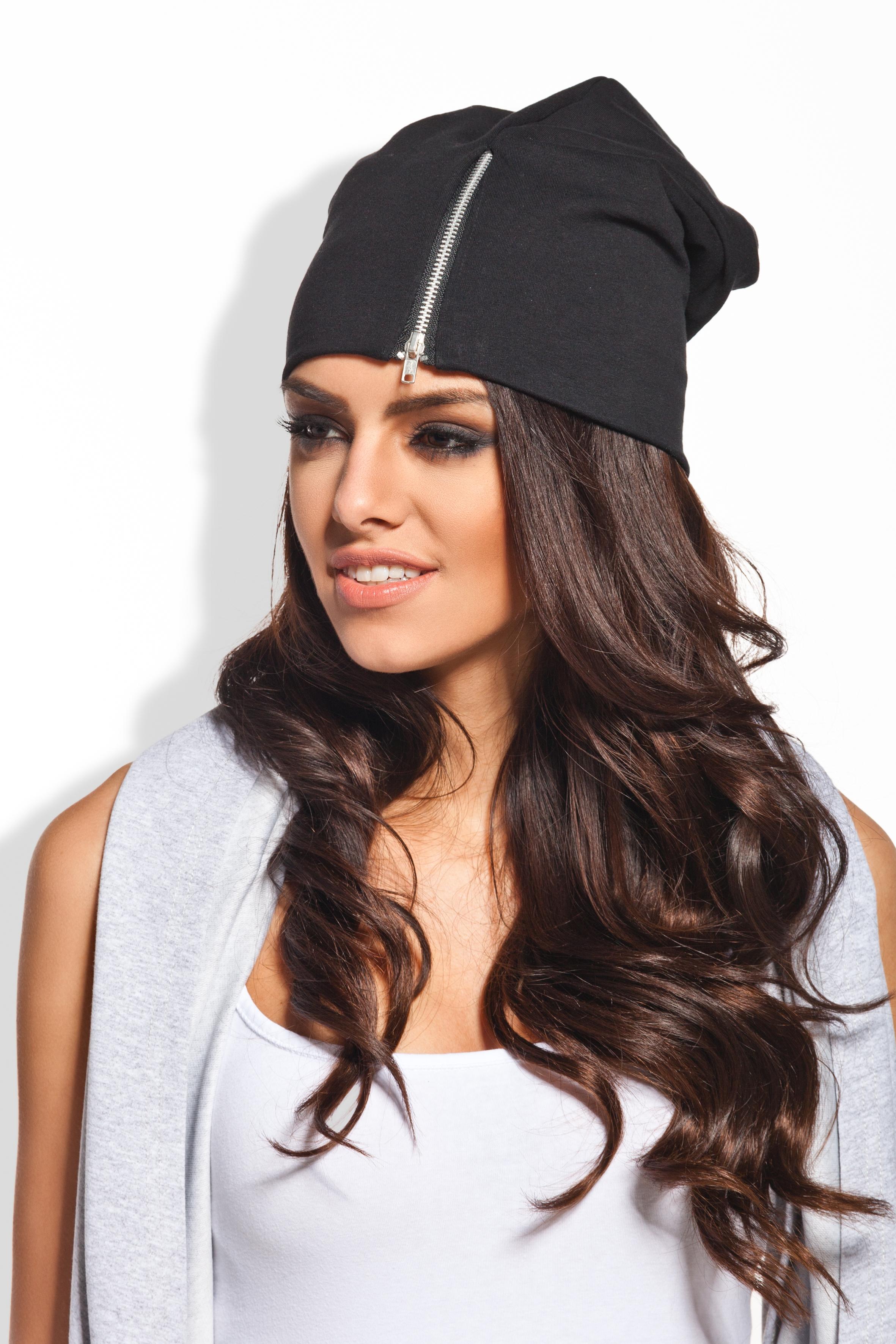 Čepice s ozdobným zipem, černá, jednotná