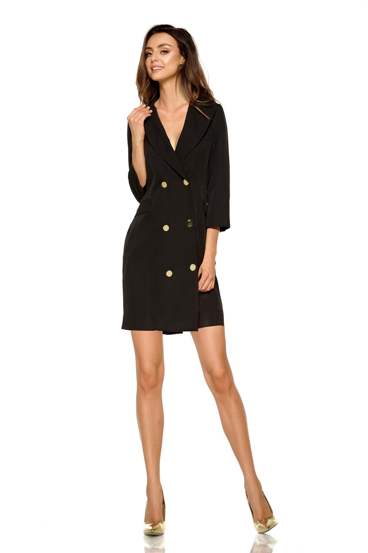 Sakové šaty L278, černá, S