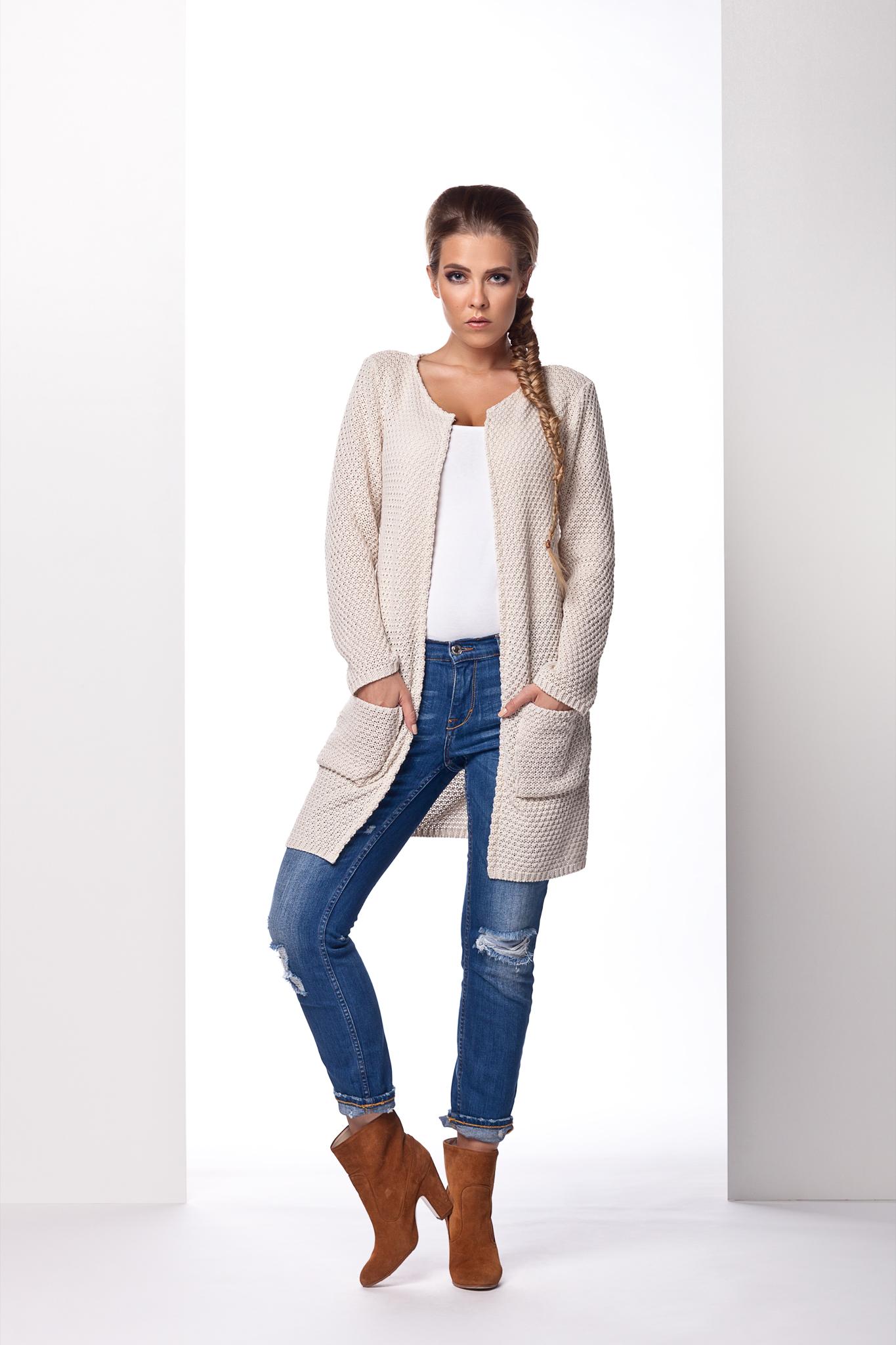 Dlouhý svetr s kapsami, béžová, jednotná