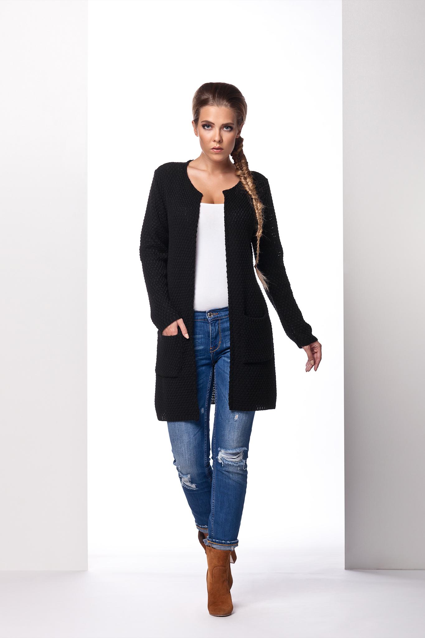 Dlouhý svetr s kapsami, černá, jednotná