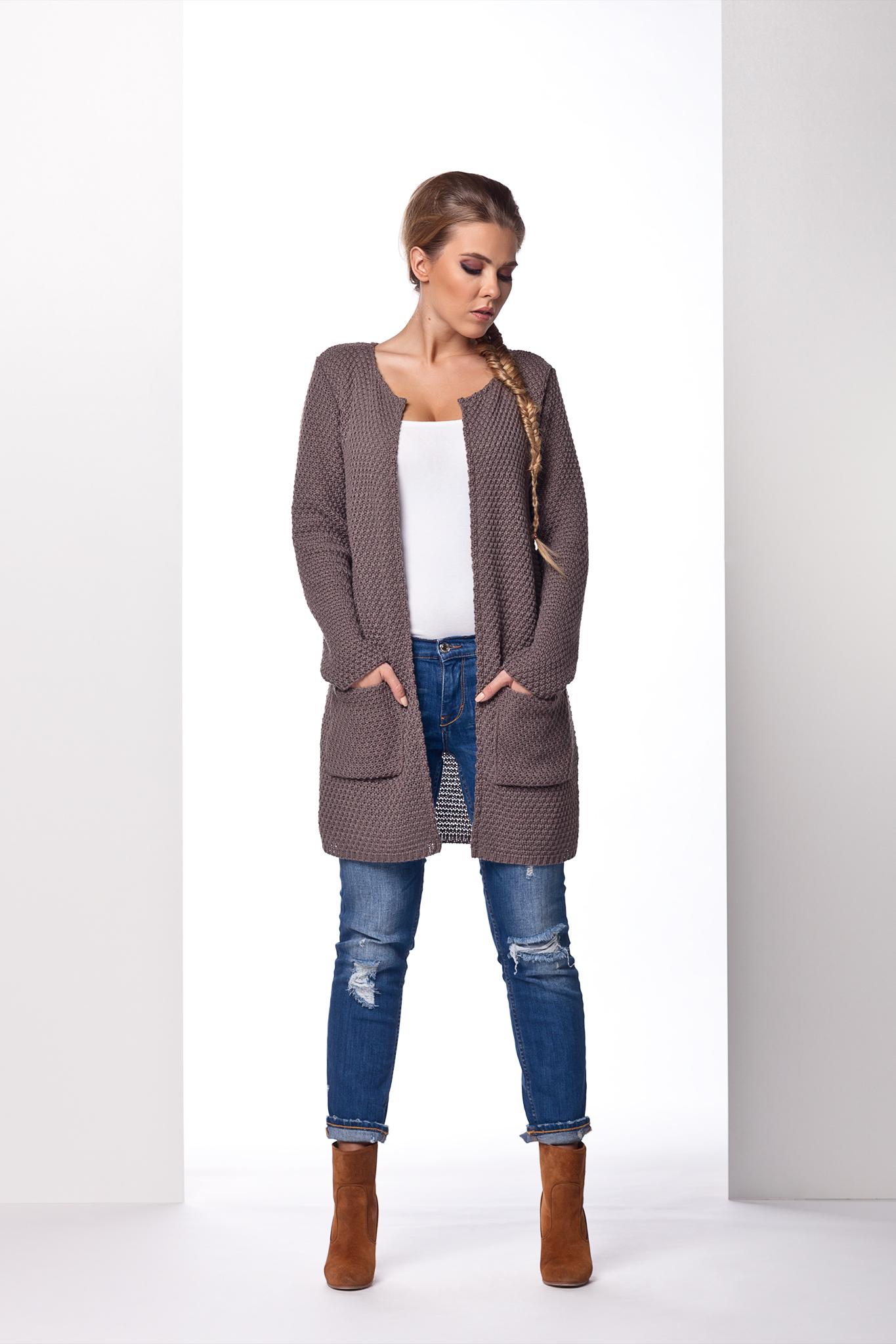 Dlouhý svetr s kapsami, cappucino, jednotná
