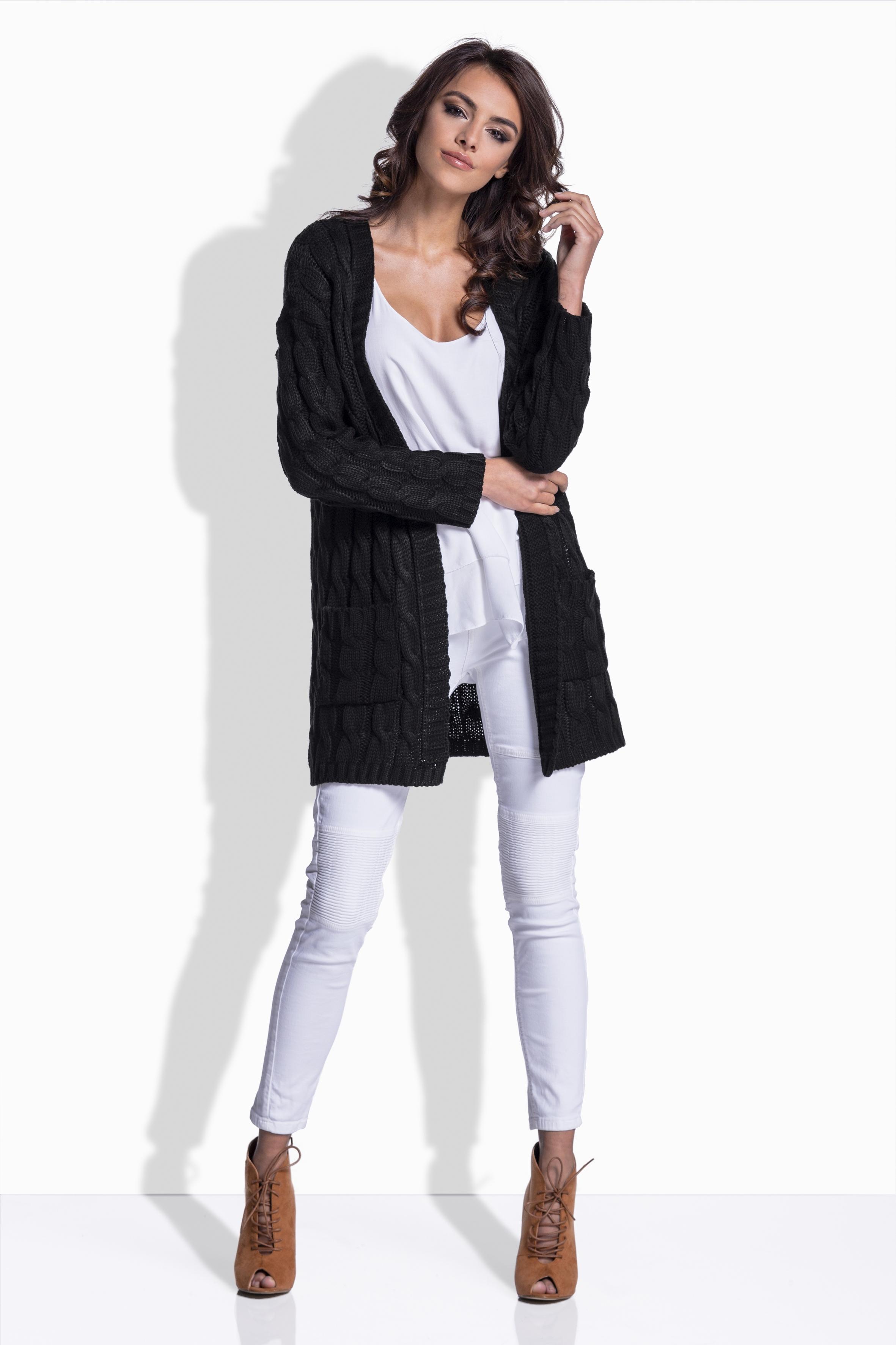 Pletený svetr s kapsami, černá, jednotná