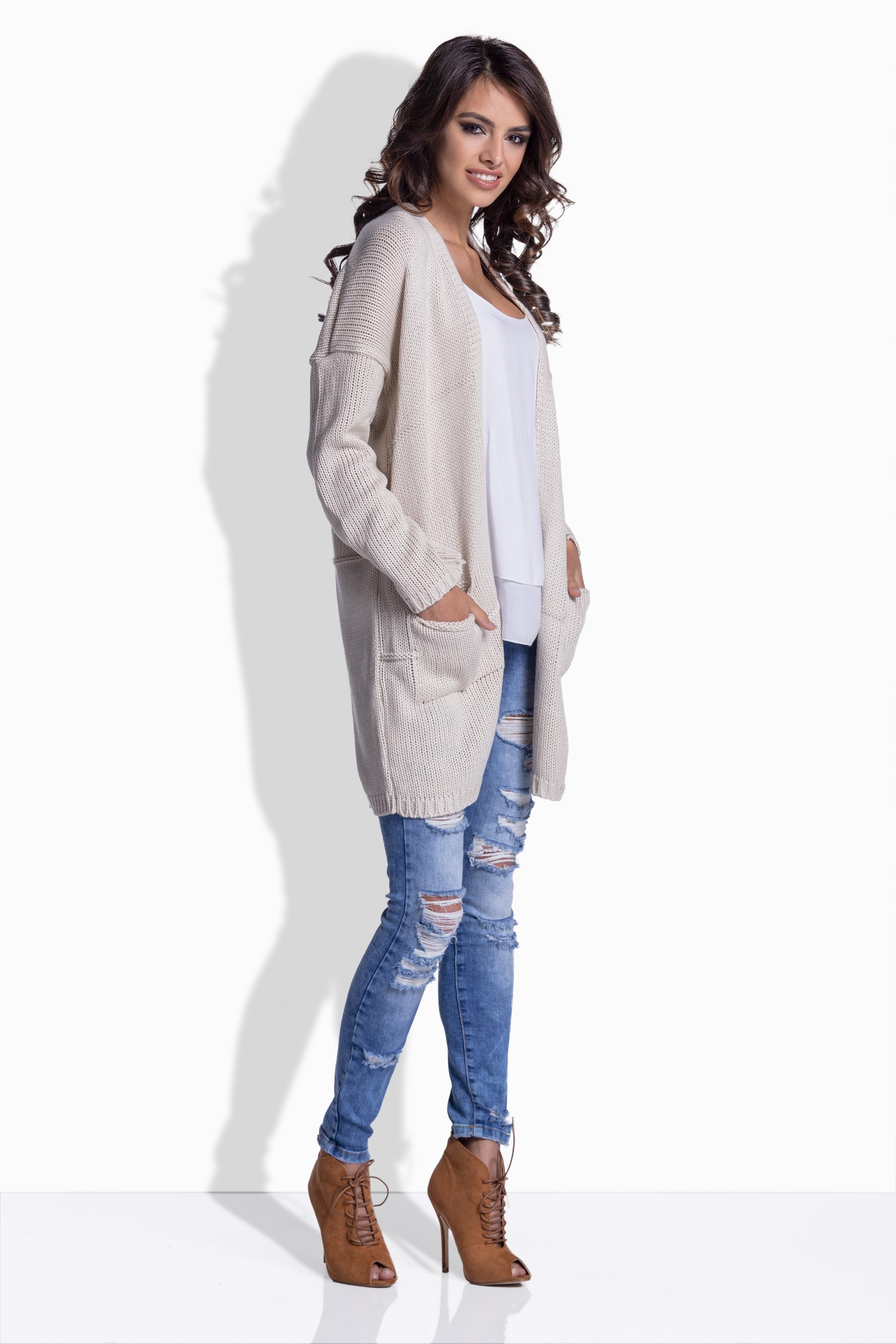Dámský svetr s kapsami- více barev, béžová, jednotná