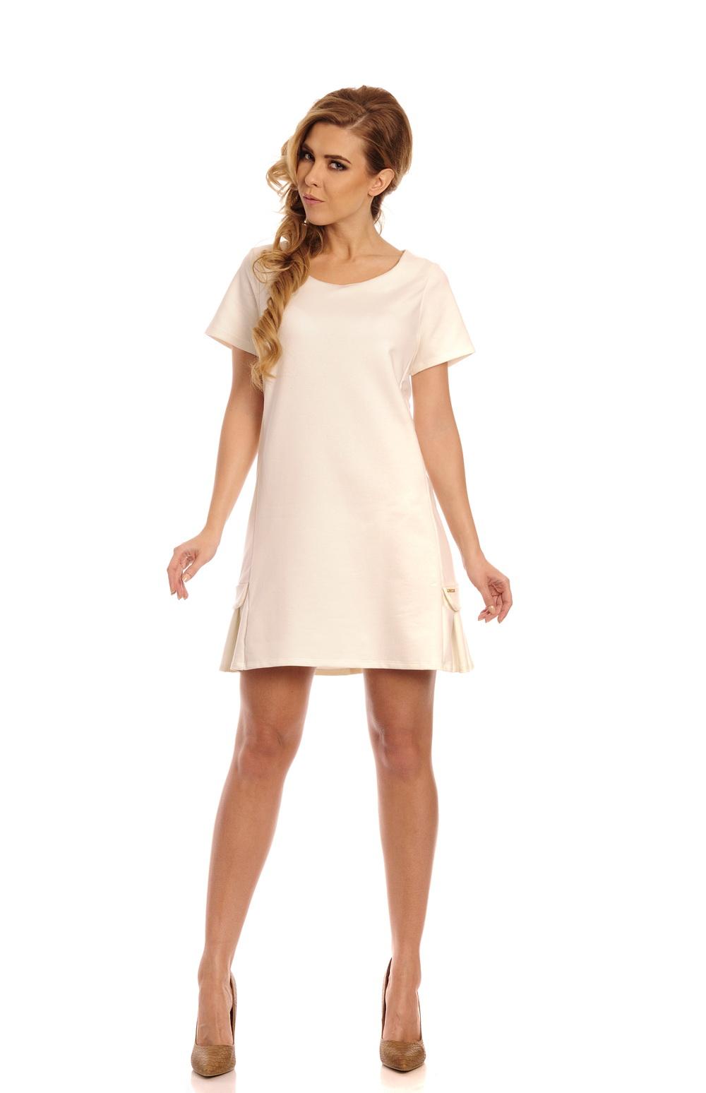 Bavlněné šaty se skladem, ecru, M