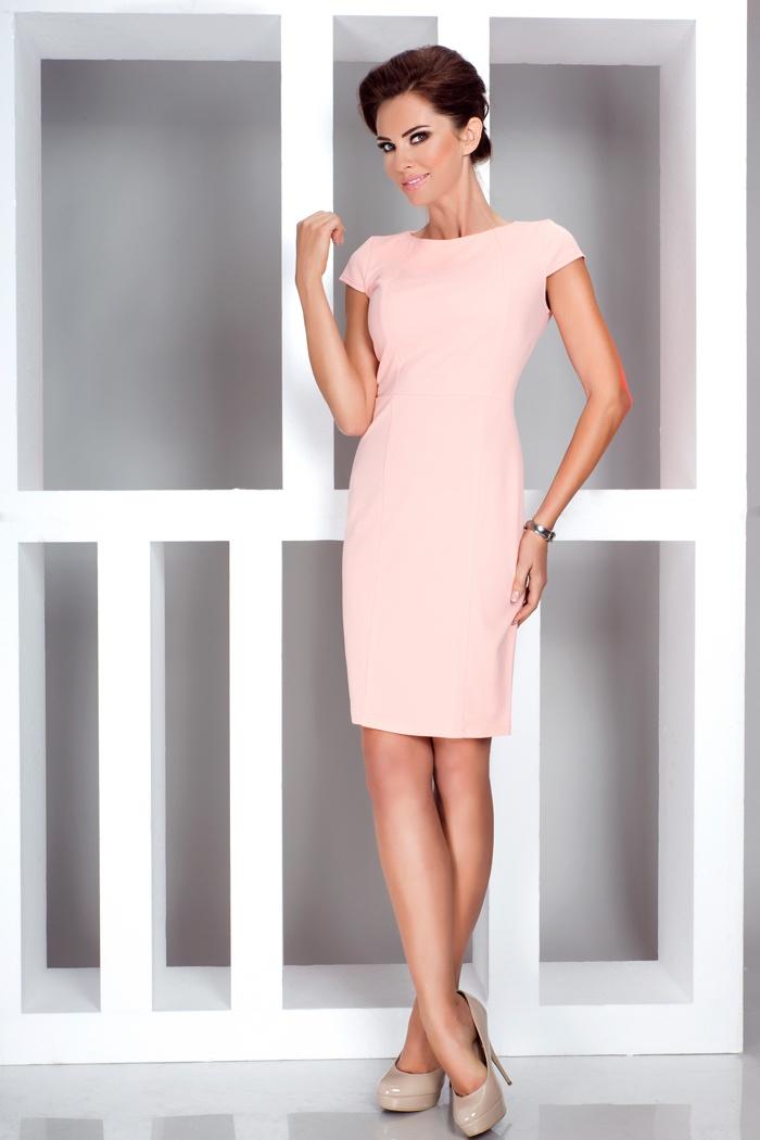 Elegantní šaty s krátkým rukávem, broskvová, S
