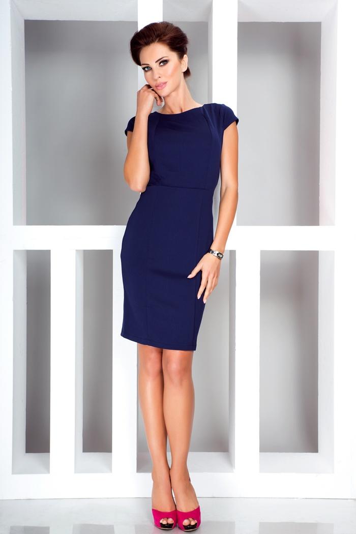 Elegantní šaty s krátkým rukávem, navy, S