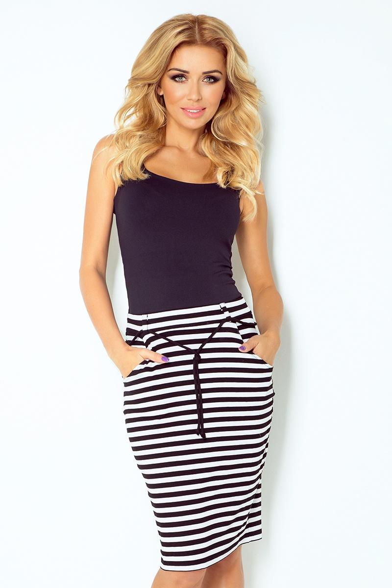 Dámská sukně s ozdobnou šňůrkou v pase- více barev