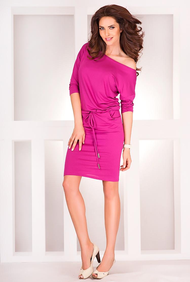 Sportovní šaty s krátkým rukávem NEON, malinová, L