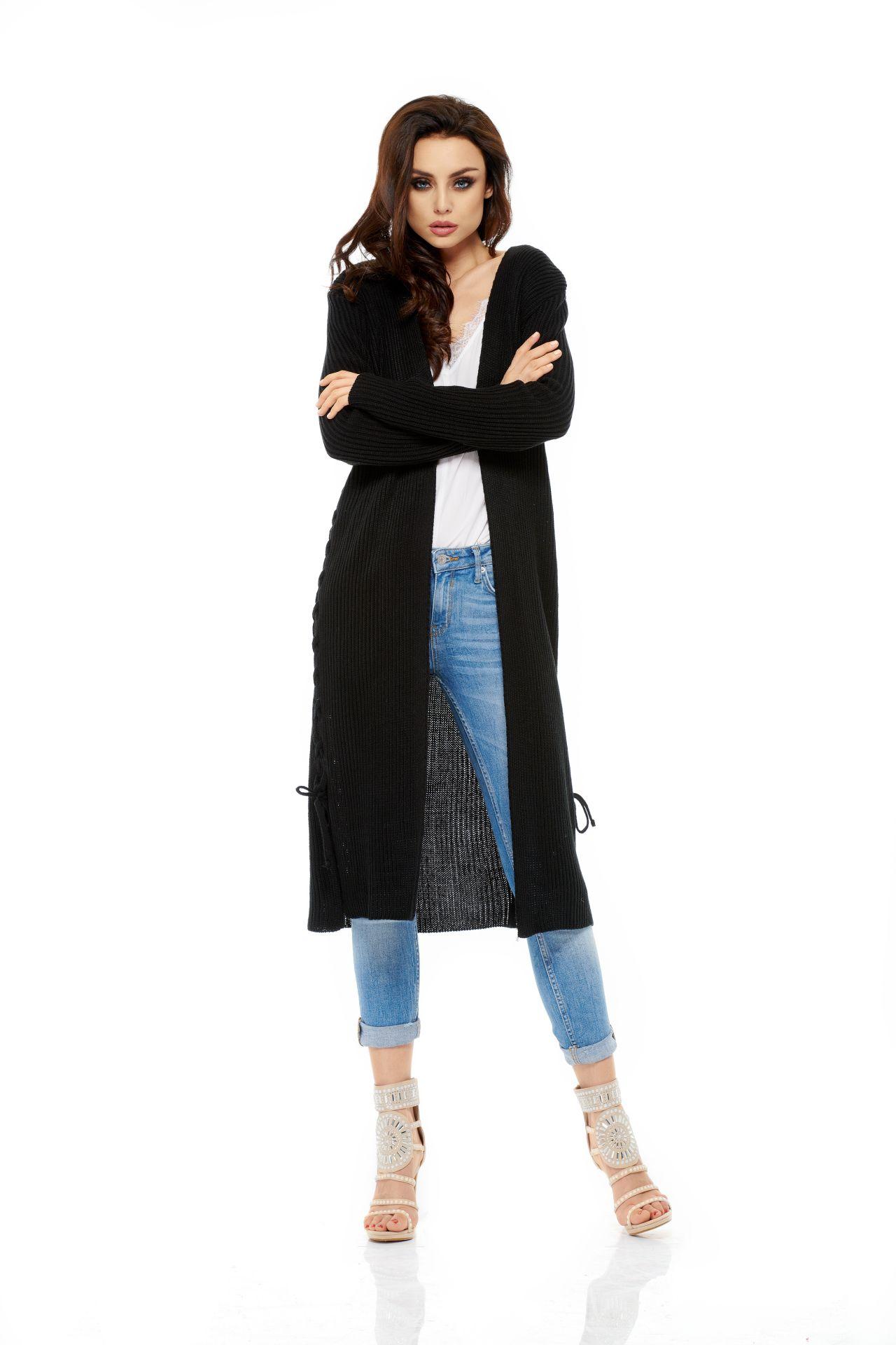 Dlouhý pletený kabátek, černá, jednotná